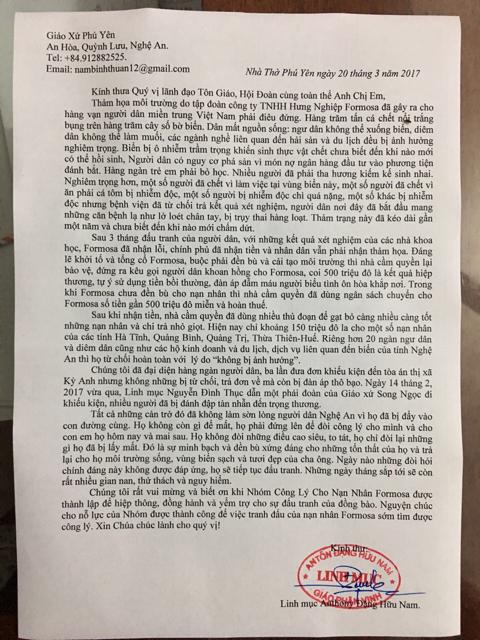 Thư keu gọi của Cha Đặng Hữu Nam